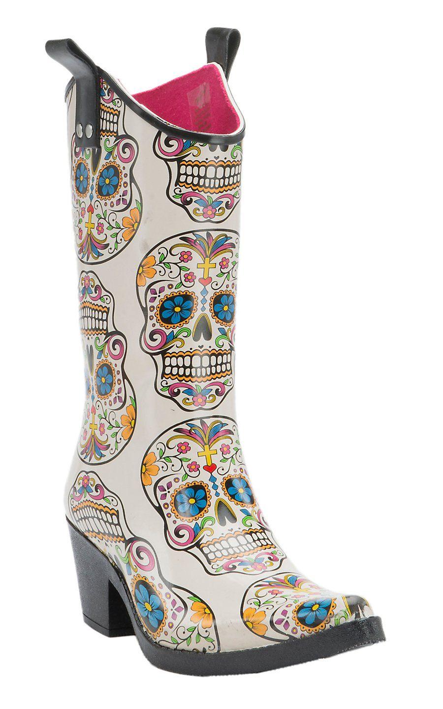M Amp F Women S Brown Floral Round Toe Rain Boots Fashion