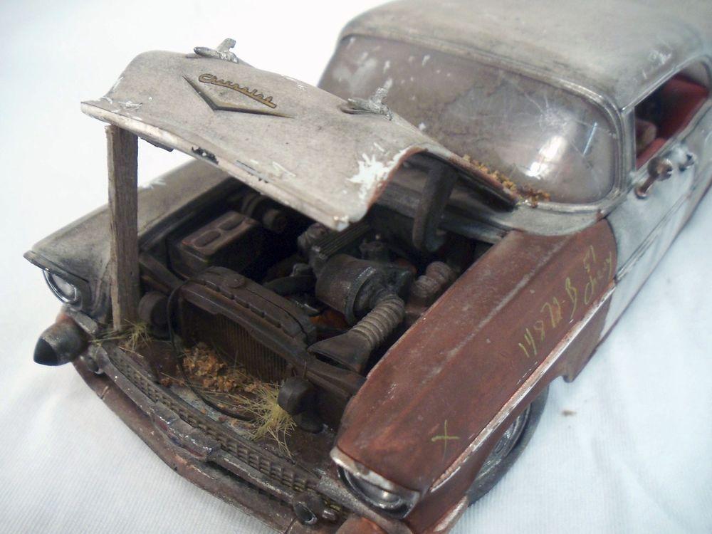 1957 Chevy Bel Air M2 Machines Barn Find Weathered 1 24 Custom Diecast Car OOAK