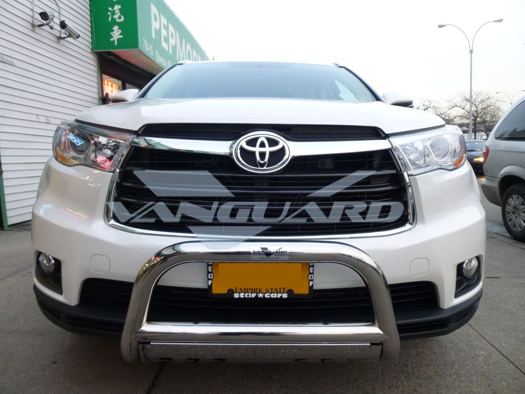 Toyota highlander front bull bar w skid plate bumper grille guard stainless steel 14 15 16 2014 2015 2016