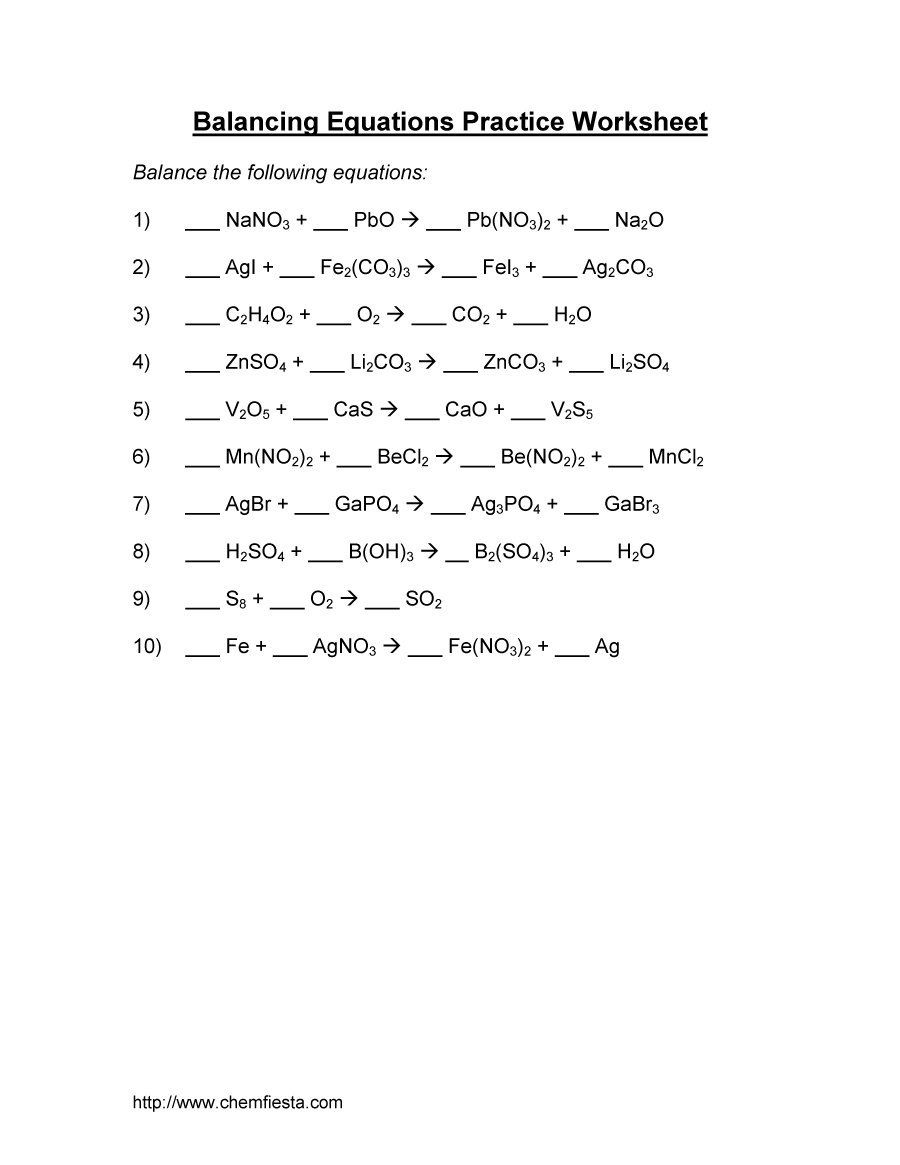 worksheet Balancing Reactions Worksheet balancing equations 06 chemistry pinterest equation 49 chemical worksheets with answers