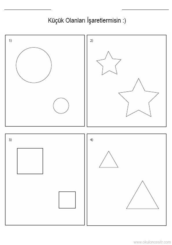 Geometrik Sekillerden Kare Ucgen Dikdortgen Buyuk Kucuk Kavrami
