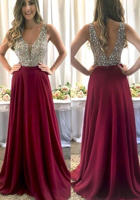 475599df117 Elegant A-Line V Neck Open Back Burgundy Chiffon Long Prom Dresses with  Beading