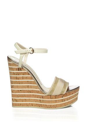 9a553c870d0b GUCCI White Striped Wedge Sandal
