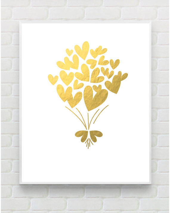 Gold Print Printable Art Nursery Wall Art Gold Heart Print Gold Art ...