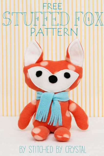 Free Stuffed Fox Pattern Stitched By Crystal Sewing Stuffed Animals Fleece Sewing Projects Sewing Projects
