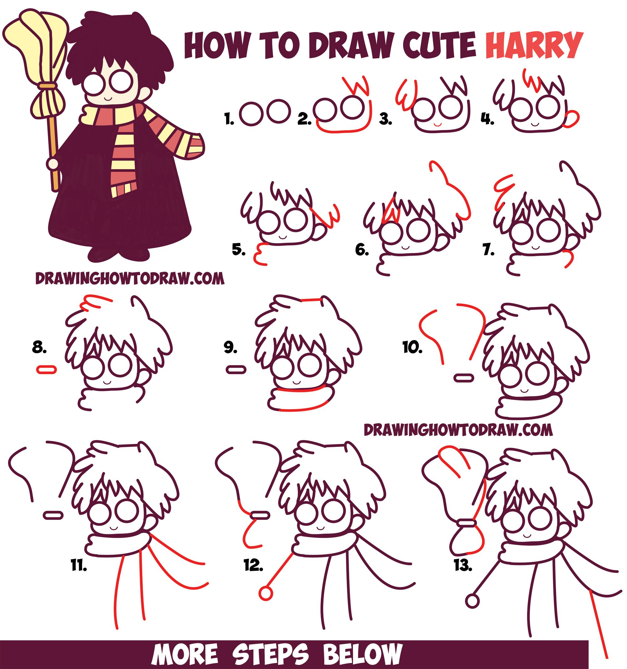 How to draw cute harry potter chibi kawaii easy step for How to draw things step by step for kids