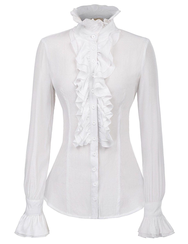 Kate Kasin Women Vintage Gothic Ruffled Shirt Blouse Tops Long