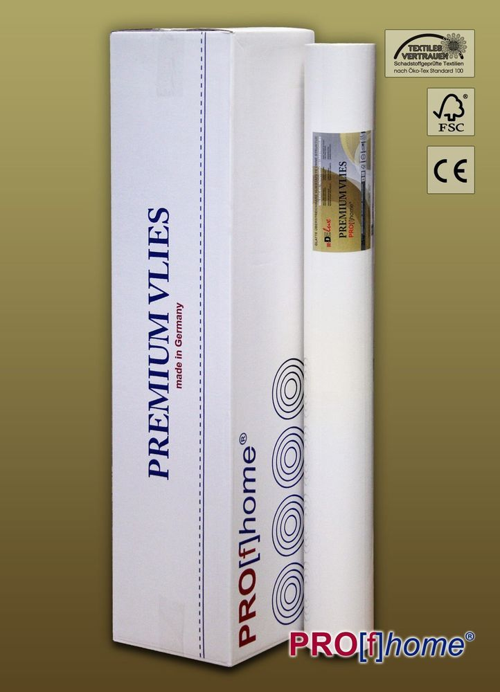 PremiumVlies Smooth Paintable Non Woven Wallpaper Wall Liner White 4 R. 100  Sqm