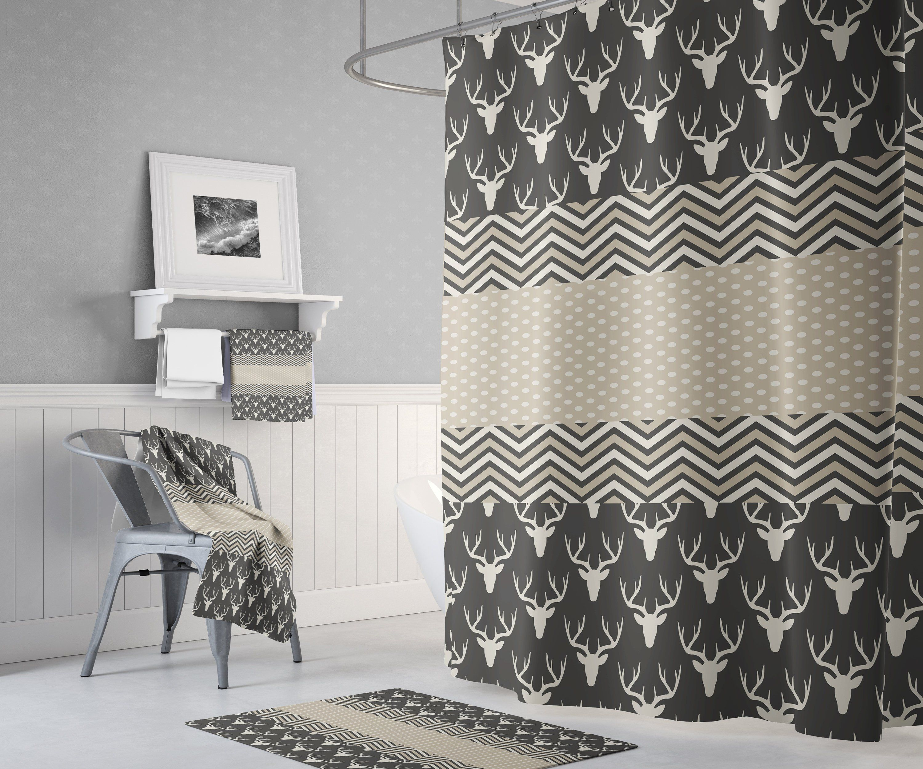 Shower Curtain With Deer Dark Pattern With Beige And Chevron