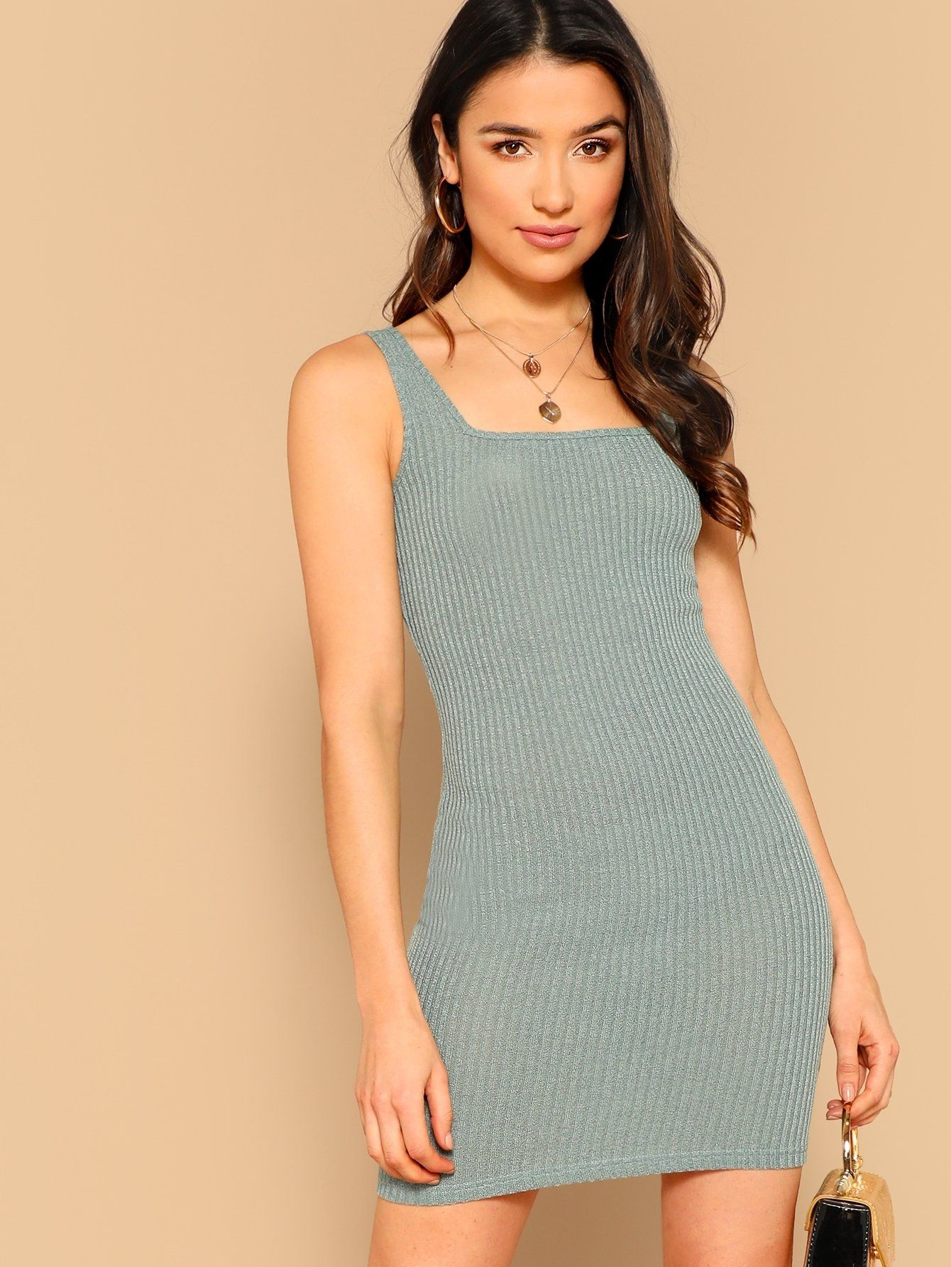 Shape Nude Rib Square Neck Lace Up Bodycon Dress