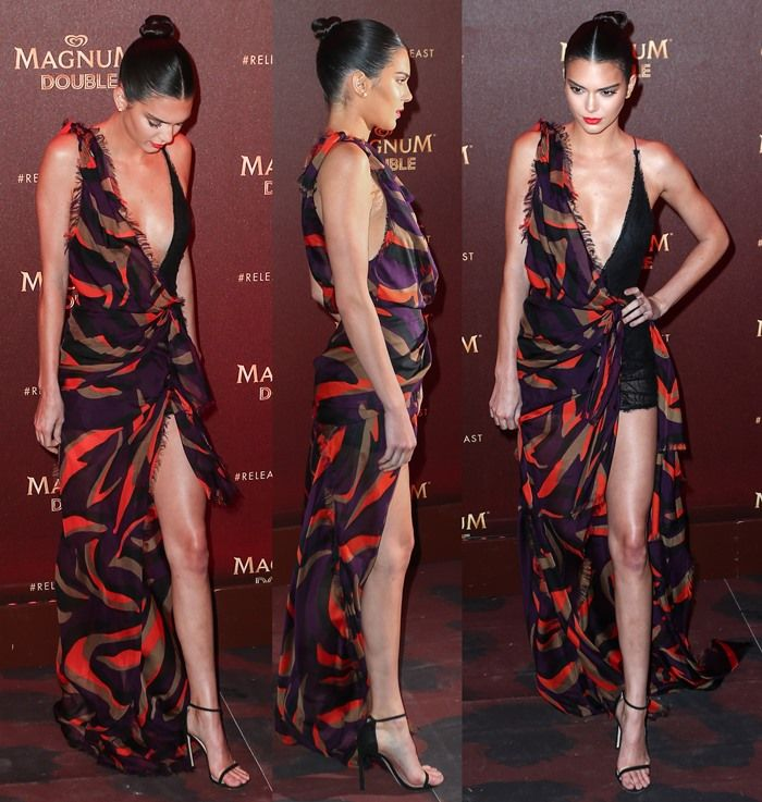 1bcb86170ab Kendall Jenner in a sleeveless Versace gown at the Magnum Doubles Party  held during the 2016 Cannes Film Festival in Cannes on May 12, 2016