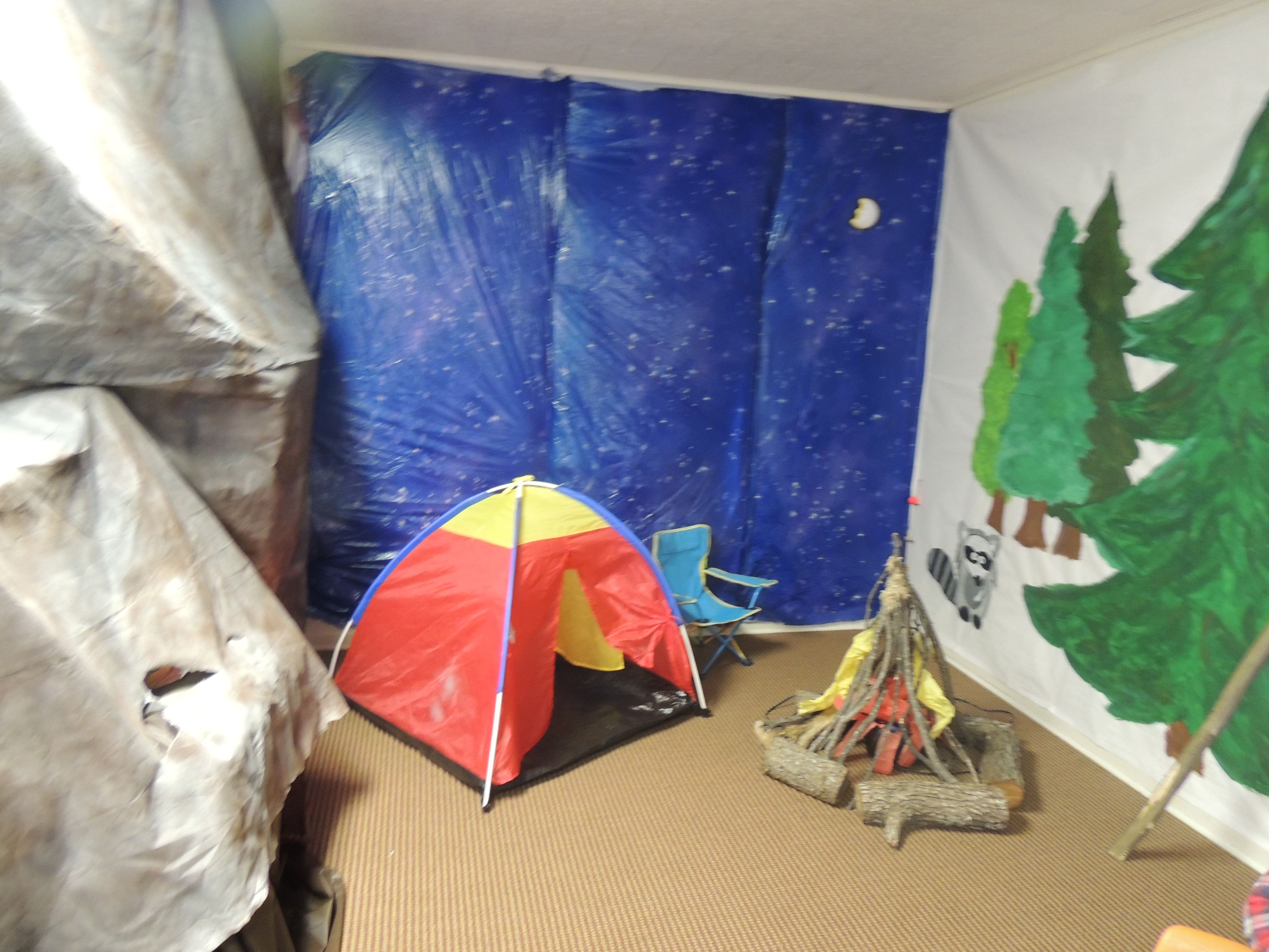 Vbs Camping Theme Decorating Ideas Part - 19: VBS SonRise Decoration FBC 2013 Mountain And Night Camping Scene