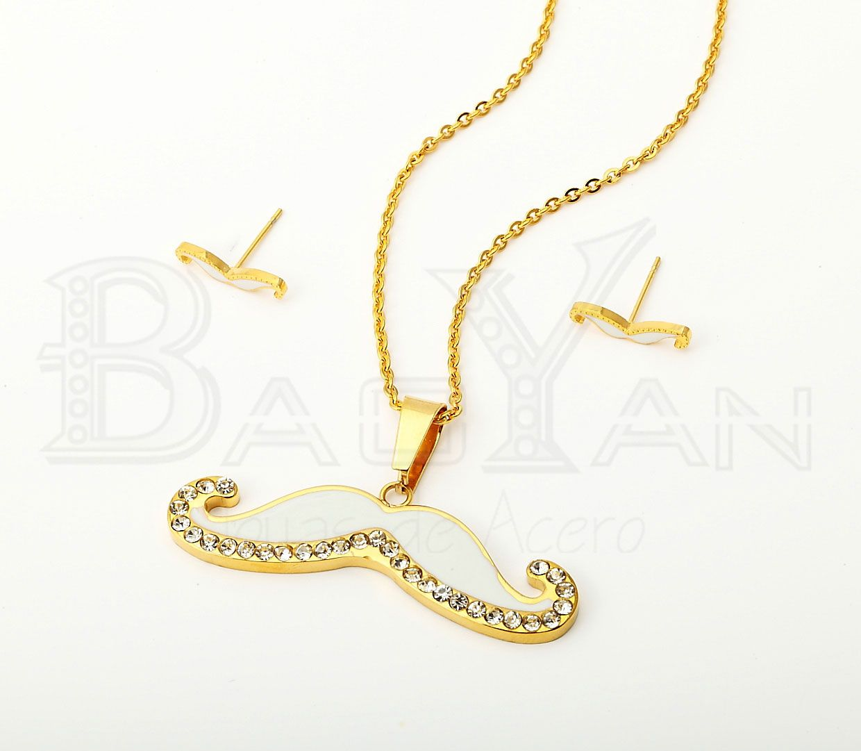 Gold  Plated White Stainless Steel  Rhinestone Jewelry Sets
