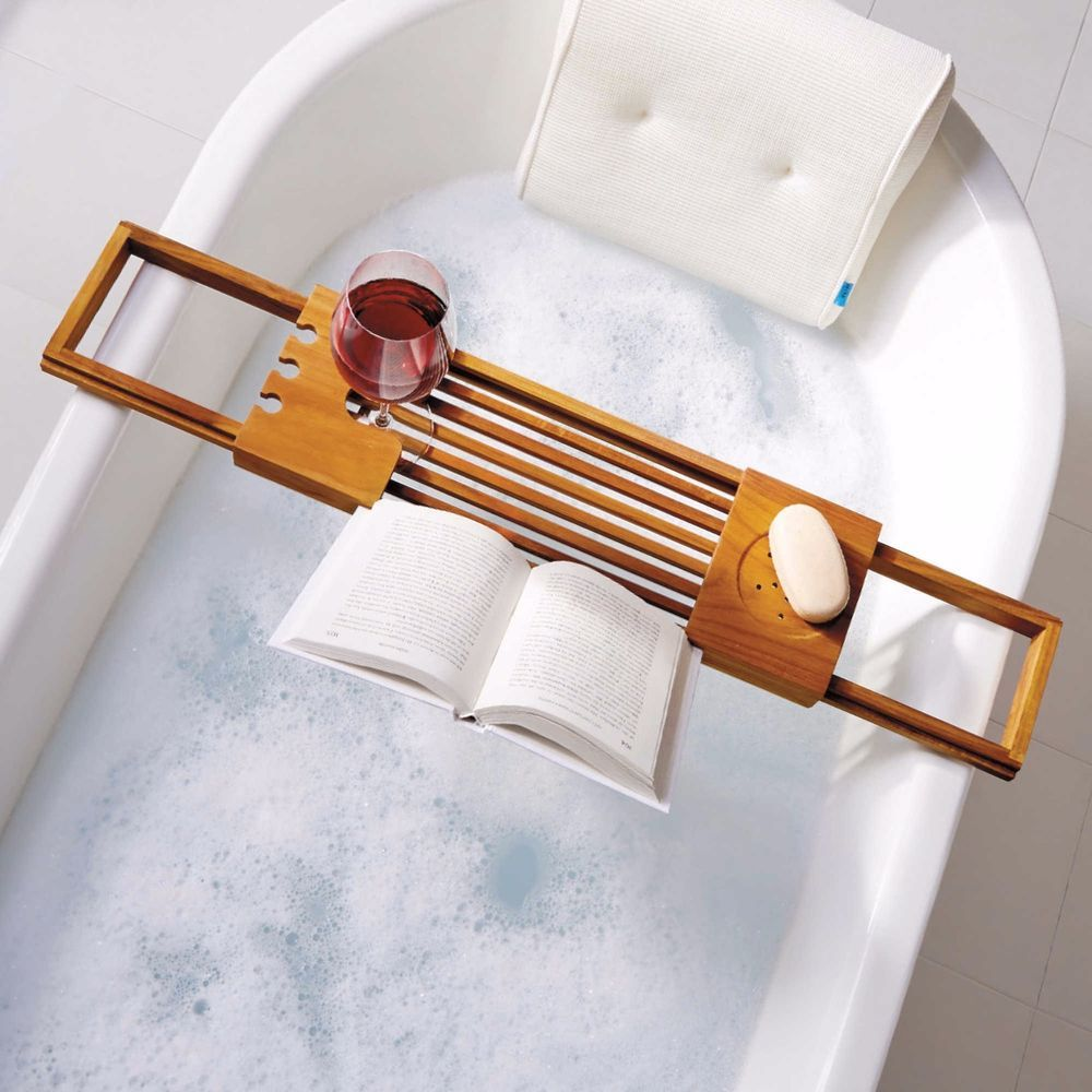 Water Resistant Adjustable Frame Bathtub Tray Caddy Wood Bath Book ...