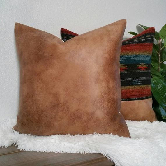 Faux Leather Pillow Cover - Boho Pillow - Cognac - Leather Pillow - Modern Farmhouse - Farmhouse Pillow - Fall Pillow