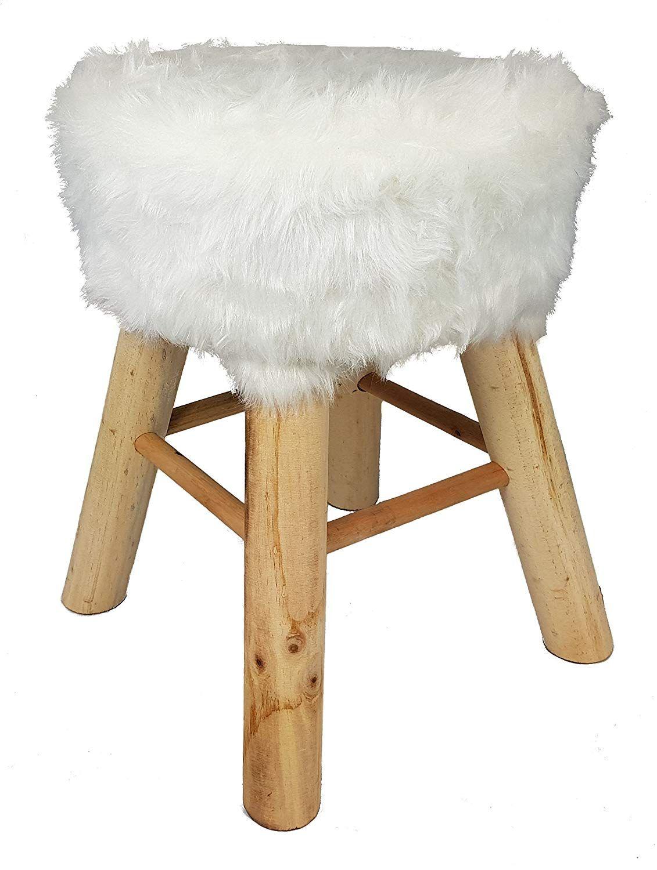 Design Fell Hocker Weiss Massiv Holz Sitzhocker Polsterhocker
