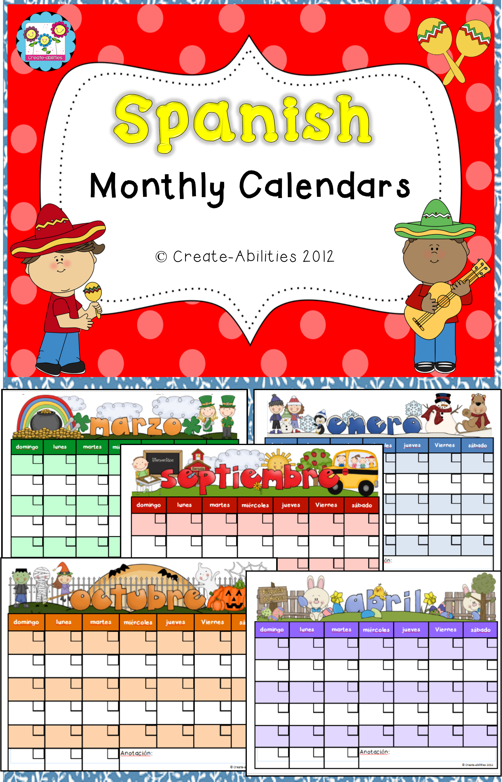 FREE! Monthly calendars in Spanish!