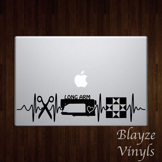 Quilting heartbeat car computer vinyl decal