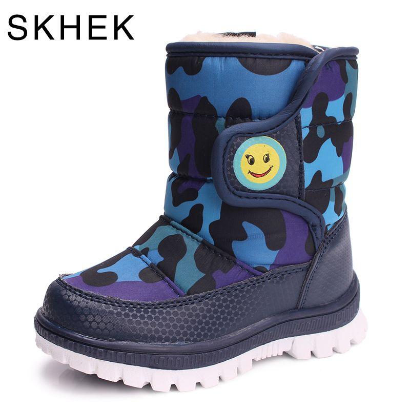 7b94de9d112d SKHEK Girls Boy Boots For Kid Snow Botas Winter Warm plush Baby Boot  Waterproof Soft Bottom Non-slip Leather Booties Kids Shoes