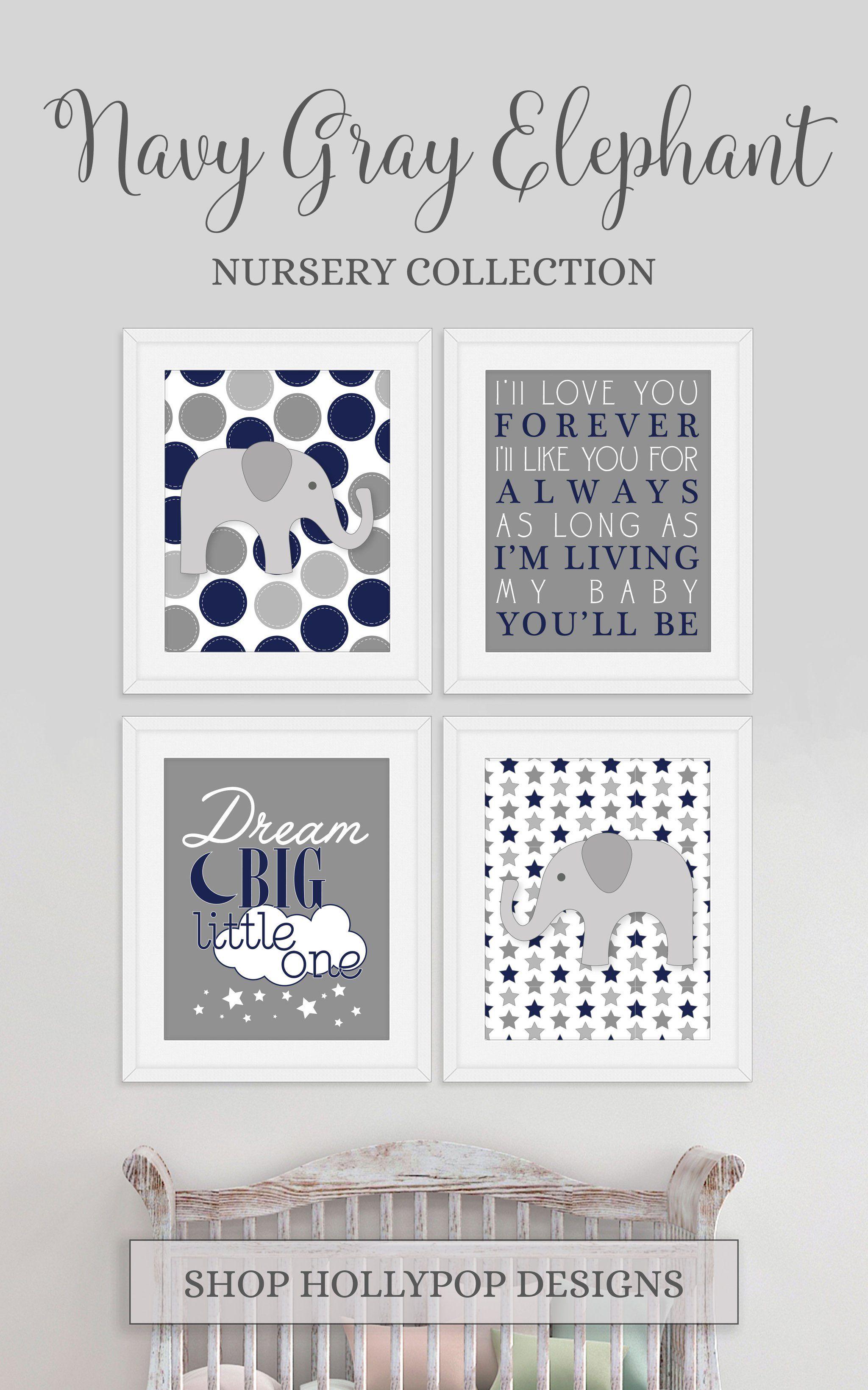 Navy Blue Gray Boy Nursery Decor, Printable Baby Boy Nursery Art, Elephant Theme Nursery, Dream Big Little One Art, Elephant Wall Art For Kids