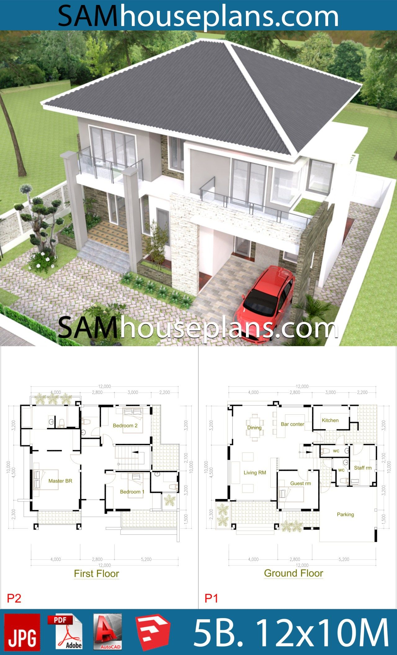 House Plans 12x10 With 5 Bedrooms Sam House Plans In 2020 Model House Plan Family House Plans Metal Building House Plans