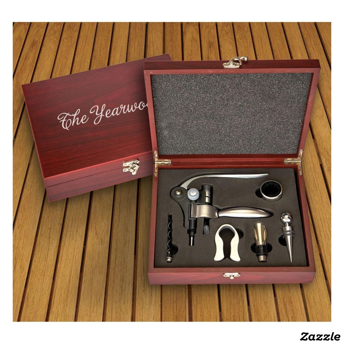 Engraved Wooden Box Set With Wine Bottle Opener Zazzle Com Wine Bottle Opener Engraved Wooden Boxes Engraved Wine Bottle Opener