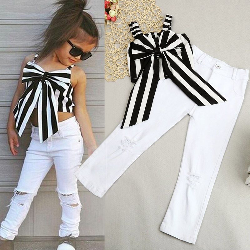 74c156012f51 Toddler Kids Girl Striped Big Bow T-Shirt Crop Top+Long Hole Jeans Pants  Outfits