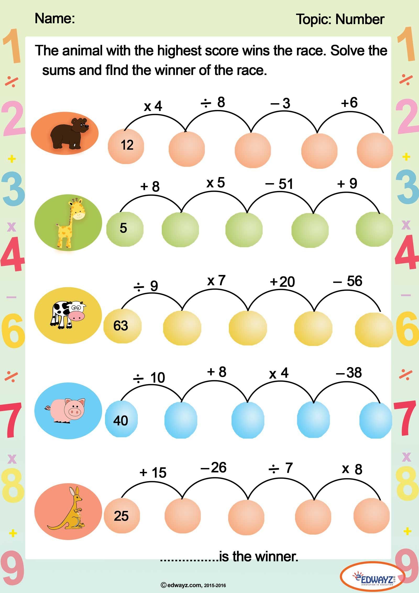 Freeworksheet For Grade3 Grade2 Math On The Addition