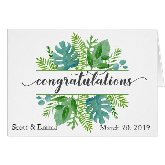 Personalized Wedding Congratulations Leaves Card