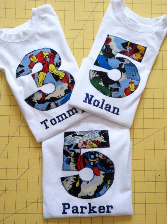 AVENGERS BIRTHDAY Shirt Kids Appliqued Personalized T Marvel Captain America Hulk Iron Ma