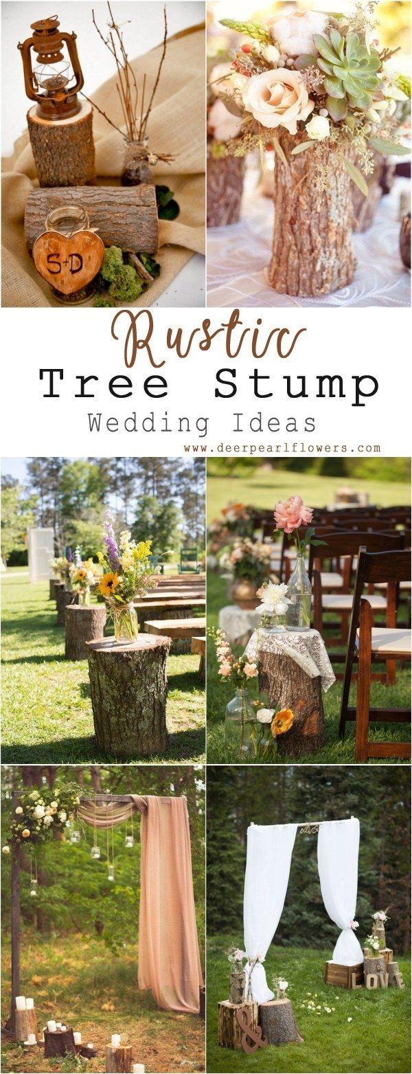 Wedding decorations lavender september 2018 Rustic Woodsy Wedding Trend   Tree Stump  Creative Wedding