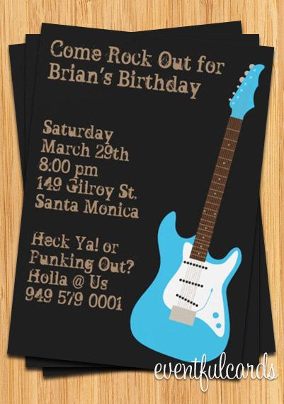 Guitar Birthday Party Invitation Rock Out Customize