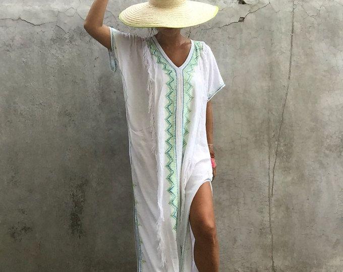 60%Off/White Quaste Kaftan lange Kleid, Sommer, Zigeuner, Hippie ...