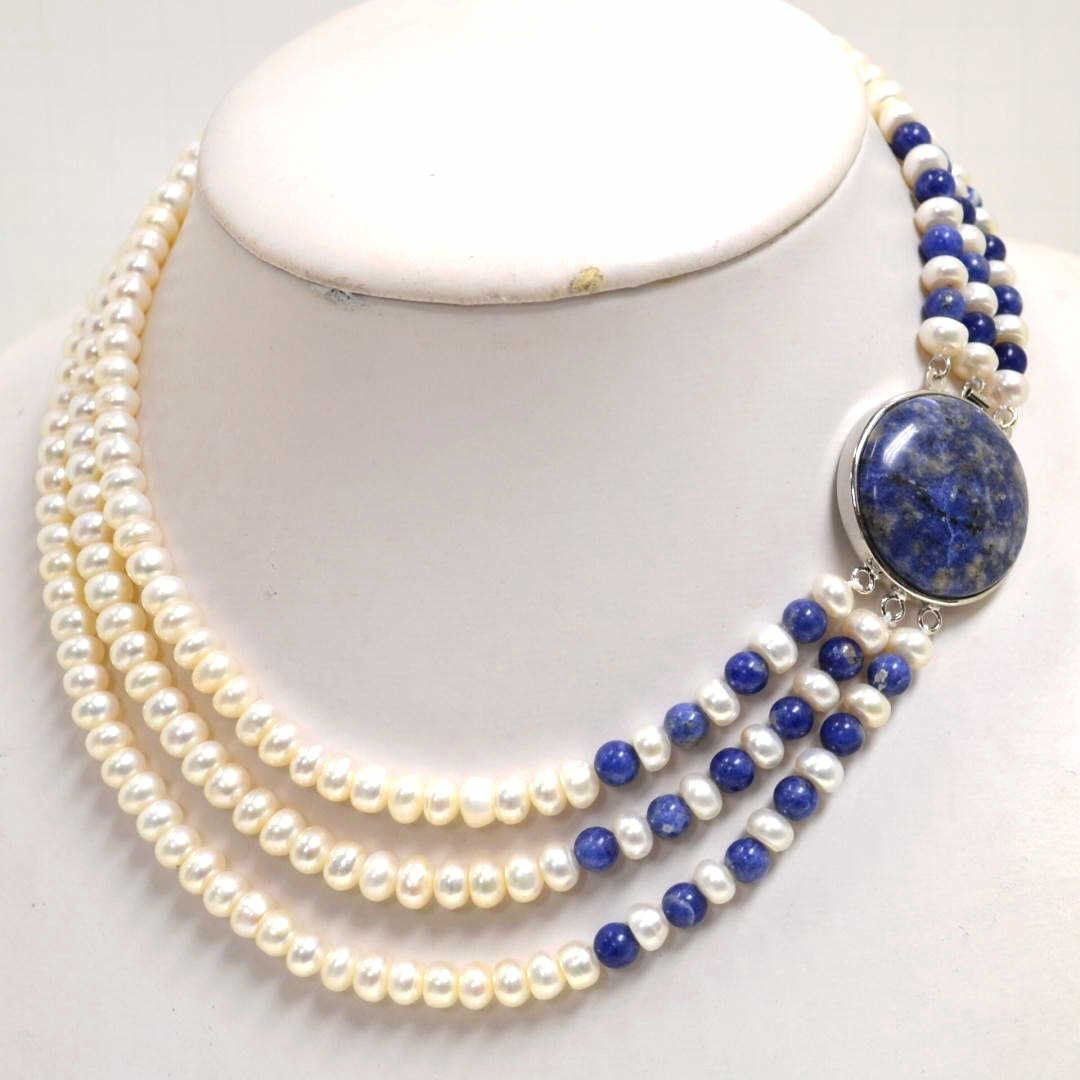 3 Strand Pearl Necklace With 75mm White Freshwater Pearls Alternating With  7mm Lapis Beads And