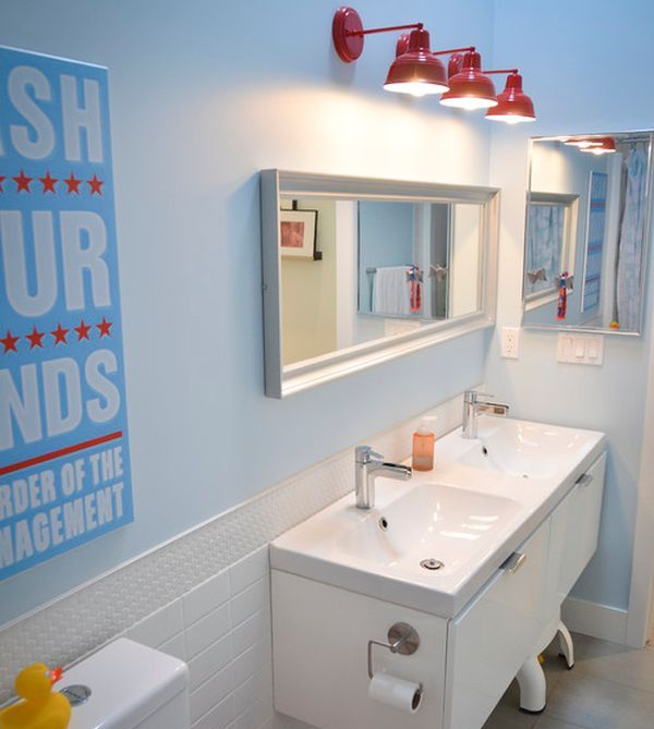Sleek Modern Kids Bathroom With Interesting Lighting Choice Kid - Kid bathroom themes for small bathroom ideas