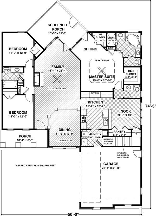 3 bedrm 1831 sq ft craftsman house plan 109 1013 for One story retirement house plans