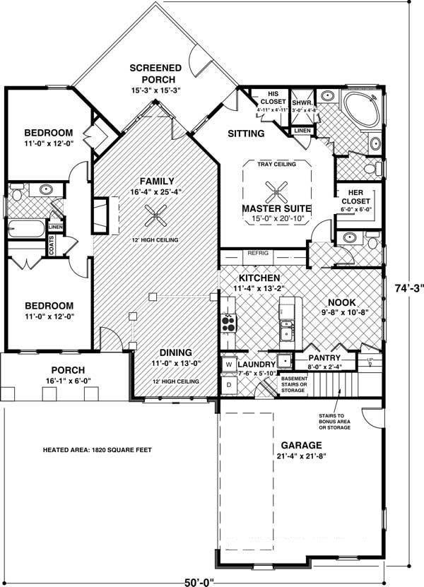 109 1013 House Plan Main Floor Plan Single Story 3 Bedroom