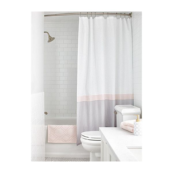 Samantha Pynn X Simons Samantha S Stripe Shower Curtain 63 Liked On Polyvore Featuring Home Pink Shower Curtains Pink Bathroom Decor Gray Shower Curtains