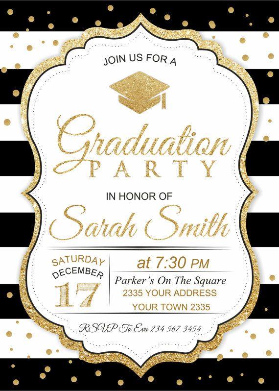 Graduation Invitation Black White Stripe Graduation