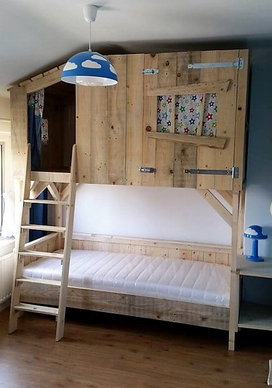 Diy Wood Pallets Tree House Bunk Bed House Bunk Bed