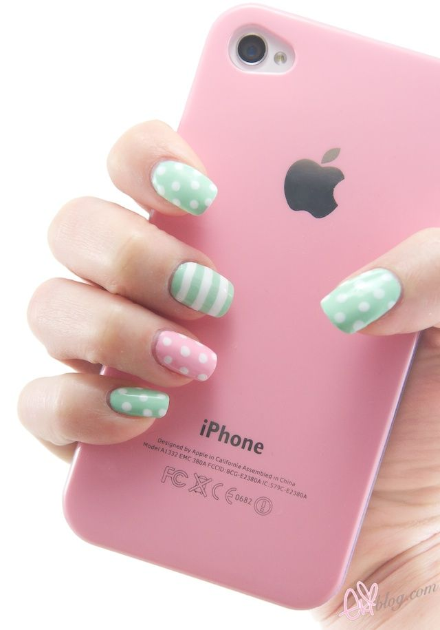 Pinterest spring nail art blue used sally hansen polish in mint pink and green stripes and polka dots manicure love when nail polish is cute and matches a phone case and polka dotsi love polka dotsa lot prinsesfo Image collections