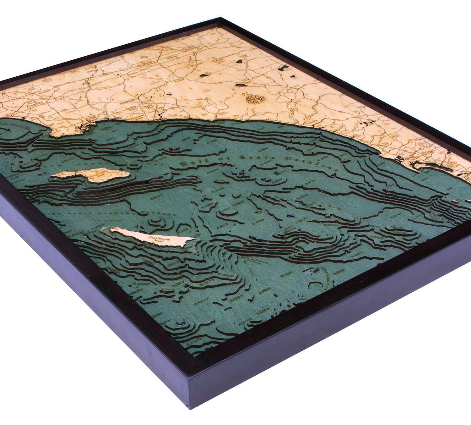 LA to San Diego Wood Carved Topographical Depth Chart