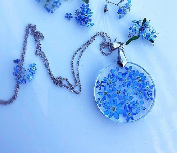 Photo of Vergiss mich nicht Halskette, Sinnvolles Geschenk für Frau, Einzigartige blaue zierliche Halskette, R …