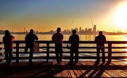 West Seattle Blog… Fishing from Seacrest Park at sunrise