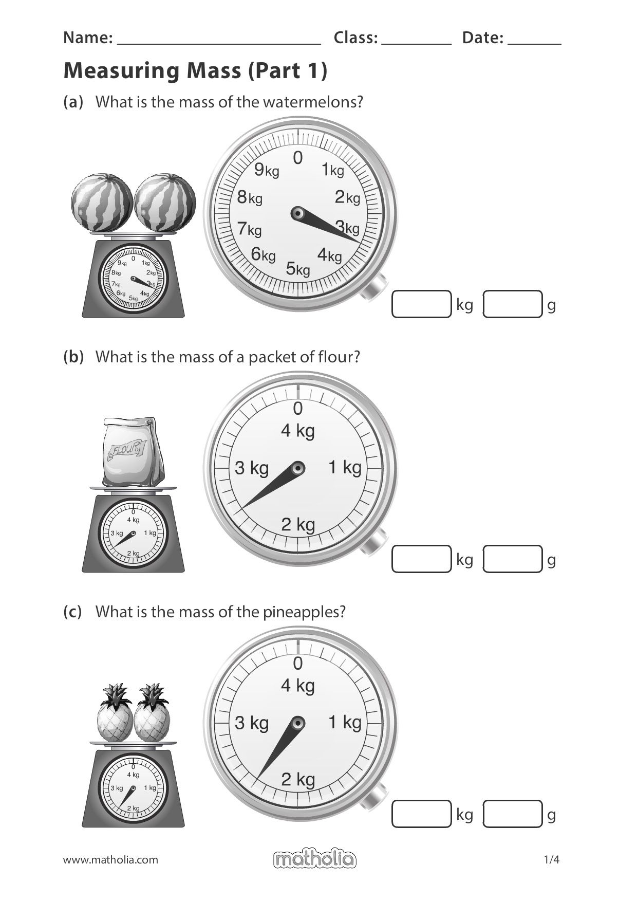 Measuring Mass Part 1 Measuring Mass Play To Learn Printable Worksheets Reading scales mass worksheet ks1