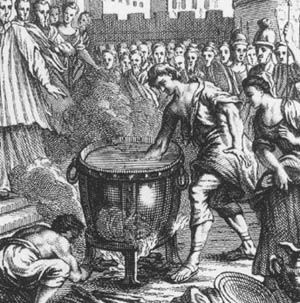 Image result for Roman boiling oil ordeal trial