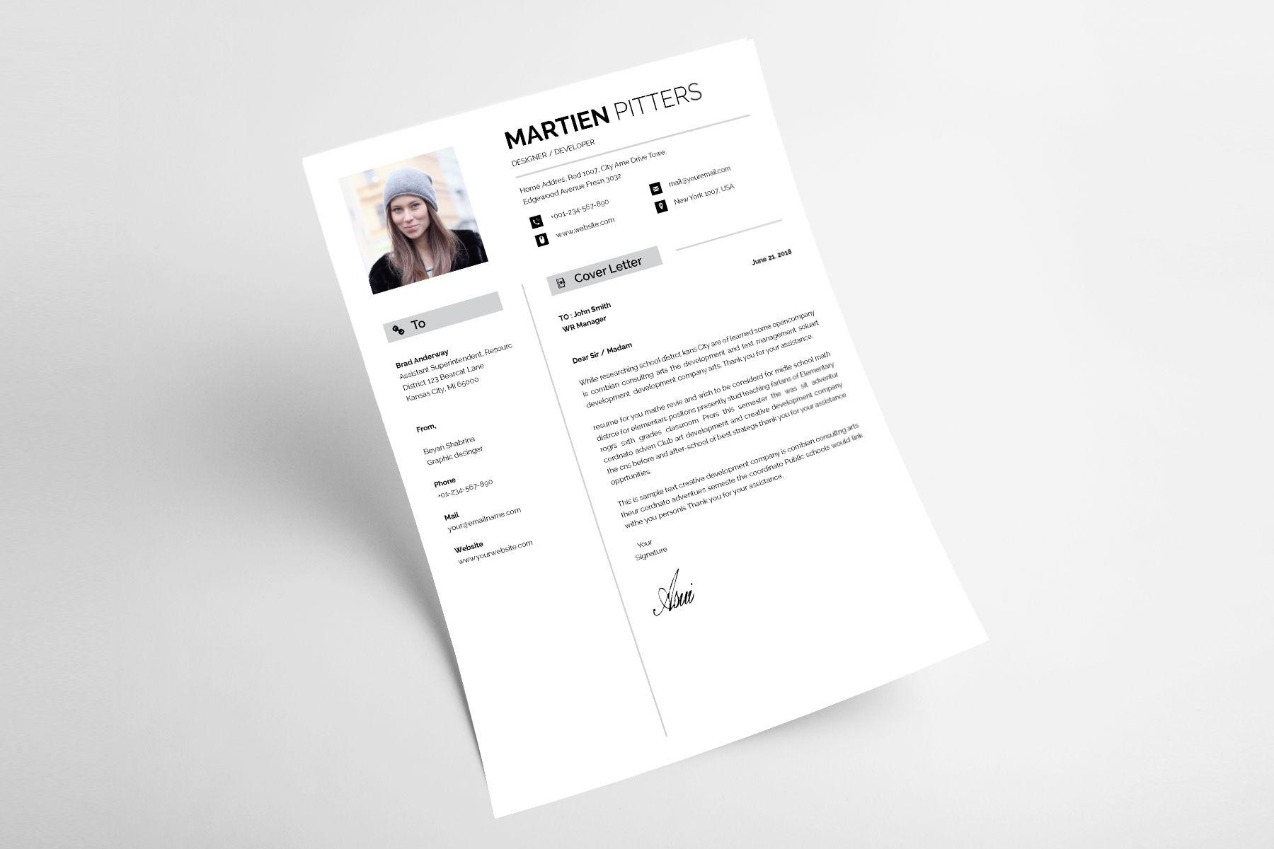 Martien Pitters Designer & Developer Resume Template