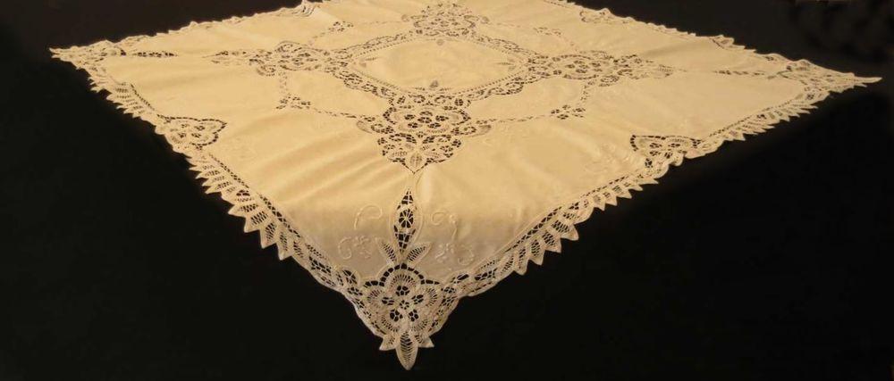Details About Vintage, Retro, Small Battenberg Lace Tablecloth, Supper Cloth