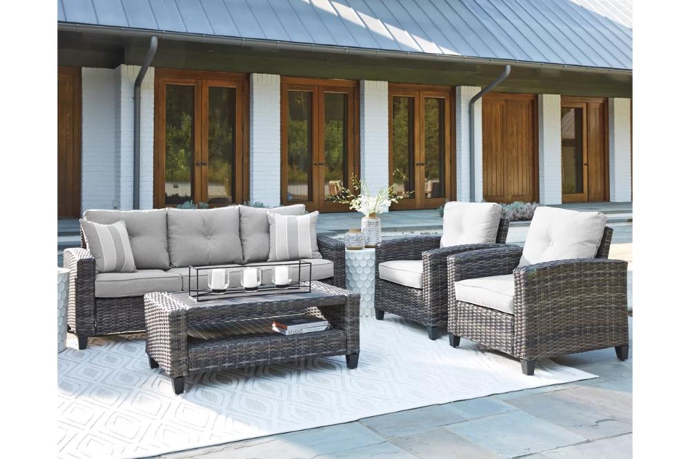 Cloverbrooke 4 Piece Outdoor Conversation Set Ashley Furniture Homestore In 2021 Outdoor Conversation Sets Outdoor Lounge Set Outdoor Seating Set