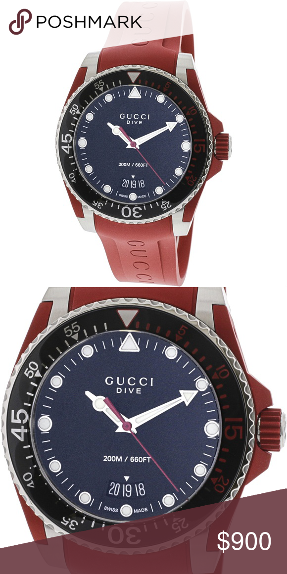 a938150b04e Gucci Men s Dive Red Rubber Swiss Diving Watch Gucci Men s Dive Red Rubber  Swiss Quartz Diving